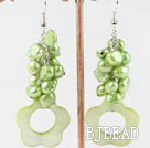 dyed green pearl and shell earrings