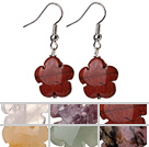 6 Pcs Beautiful Multi Color Flower Shape Natural Stone And Crystal Earrings