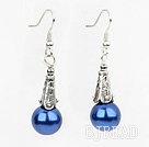 Simple Style Dark Blue Color Shell Beads Earrings