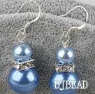 8-14mm blue acrylic pearl earrings