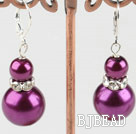 8-14mm purple acrylic pearl earrings under $ 40