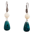 dyed green pearl earrings