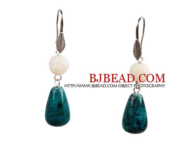Lovely Fashion Style Drop Shape Phoenix Stone Fire Agate Dangle Earrings