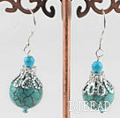 turquoise ball earrings with tibet silver cap