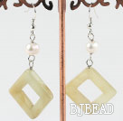 white pearl and three color jade earrings