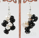 Cluster Style White Freshwater Pearl and Black Agate Earrings