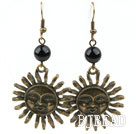 Vintage Style Black Agate Earrings with Bronze Sun Shape Accessories under $ 40
