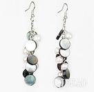 white pearl and black lip shell earrings