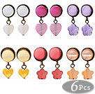 6 Pairs Hipanema Summer Design Multi Color Heart Shape Shell Stud Earrings