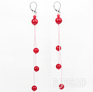 dangling style red ball coral earrigns