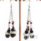 garnet crystal shell earrings