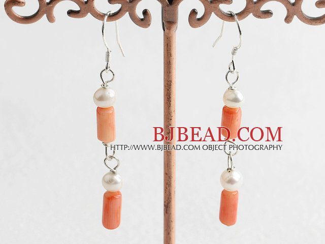 pearl coral earrings