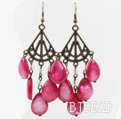 Vintage Style Drop Shape Hot Pink Shell Earrings
