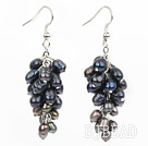4-8 black pearl cluster earrings