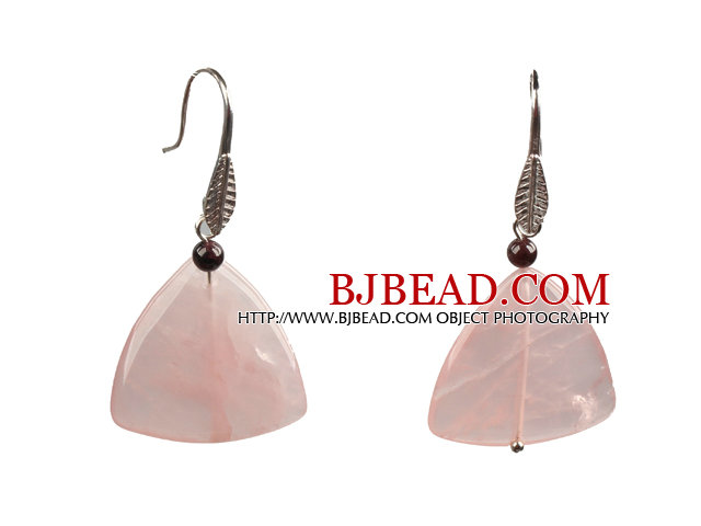 Lovely Fashion Style Triangular Rose Quartz Dangle Earrings