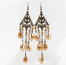 Vintage Style Golden Champagne Color Drop Shape Crystal Earrings