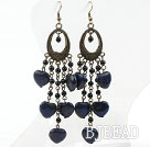 Black Agate and Heart Shape Lapis Earrings Long Earrings