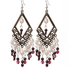 lovely white pearl and garnet earrings under $ 40