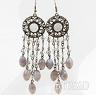 Long Style Gray Agate and Crystal Earrings