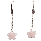 Lovely Long Style Star Shape Rose Quartz Dangle Earrings