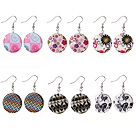 6 Pairs Speical Design Colored Drawing Shell Earrings under $ 40