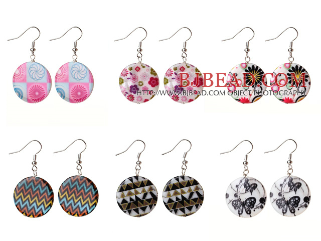 6 Pairs Speical Design Colored Drawing Shell Earrings