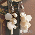 white pearl and shell earrings