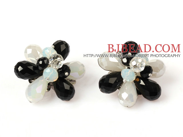 Fashion Style Black and White Crystal Flower Clip Earrings