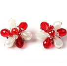Fashion Style Red and White Crystal Flower Clip Earrings
