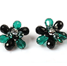 Fashion Style Green and Black Crystal Flower Clip Earrings