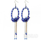 New Style Blue Series Blue Crystal Tassel Fashion Earrings