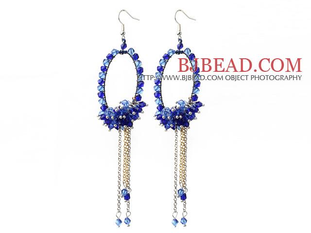 New Style Blue Series Blue Crystal Tassel Fashion Earrings