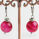 cute 12mm pink agate earrings