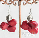 cluster style coral earrings