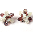 Fashion Style Purple and White Crystal Flower Clip Earrings