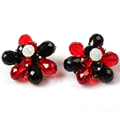 Fashion Style Black and Red Crystal Flower Clip Earrings