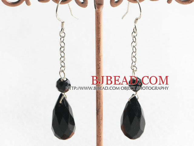 dangling style drop shape black agate earrings