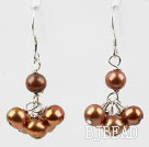 Dyed Golden Brown Color Freshwater Pearl Earrings under $ 40