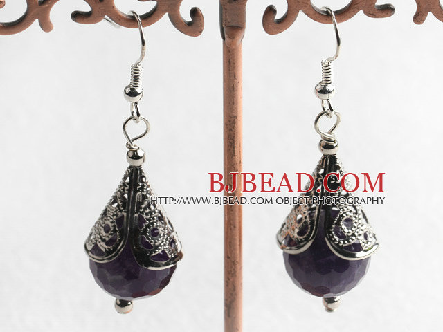 natural faceted amethyst earrings