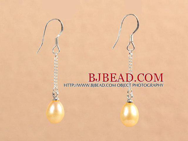 Simple Fashion Champagne Color Natural Freshwater Pearl Dangle Earrings