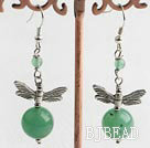 hot aventurine and dragonfly earrings