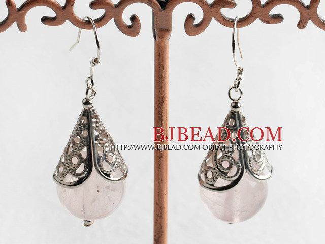 cute 14mm rose quartze earrings