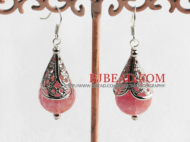 14mm cherry quartze earrings