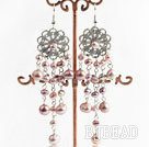 chandelier shape beautiful pink 4-7mm pearl earrings