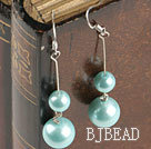 cute light blue sea shell beads earrings(with space between beads)