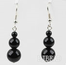 Simple Style Round Shape Black Agate Earrings under $ 40