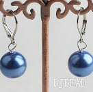 12mm blue color shell beads earrings