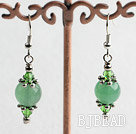 green crystal and aventurine earrings