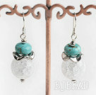 butst pattern turquosie and crystal earrings