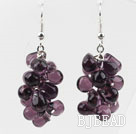 New Design Purple Color Drop Shape Crystal Cluster Earrings
